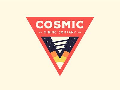 Cosmic Mining pt. 2 mining space drill badge logo branding lockup planet stars