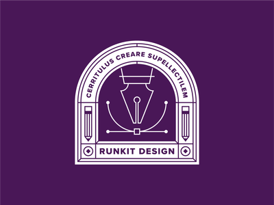 RunKit Design Team lockup seal brand logo pentool stamp patch identity badge design runkit