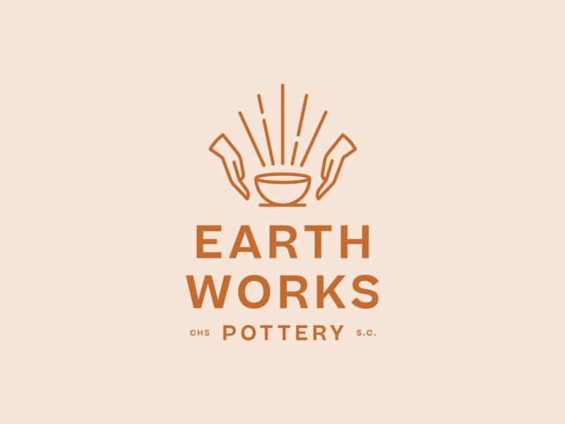 Earthworks Pottery branding hands trademark brand logo ceramics pottery