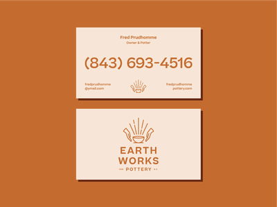 Earthworks Business Cards ceramics pottery logo branding brand stationary business card