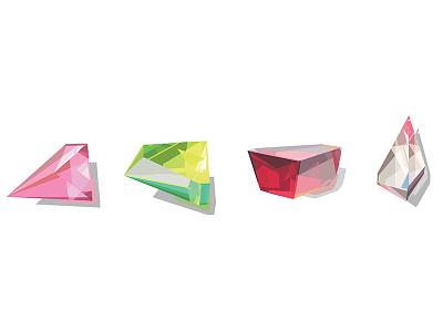 Prisms prisms gems ruby emerald diamond illustration