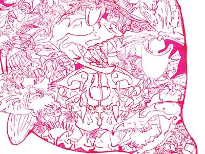 Id Engager Poster pen and ink magenta skull orchid teeth dna venus flytrap rodent