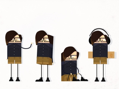 Box-Me avatar character character design self portrait box headphones shirt glasses