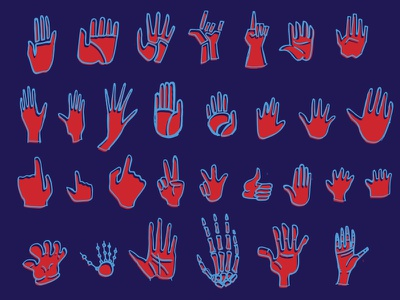 Hands Up illustration hands hand icons pointing thumbs up peace sign gesture pointer