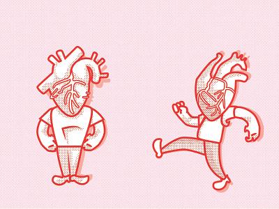 Heart lads heart cartoon character retro human heart halftone pink
