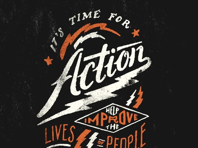 Action Bolts illustration pen and ink typography lightening bolt sevenly