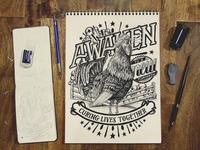 Awaken rooster illustration