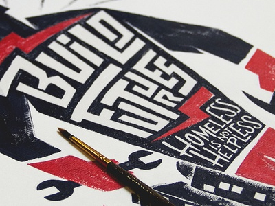 Build Futures illustration acrylic paint typography sevenly