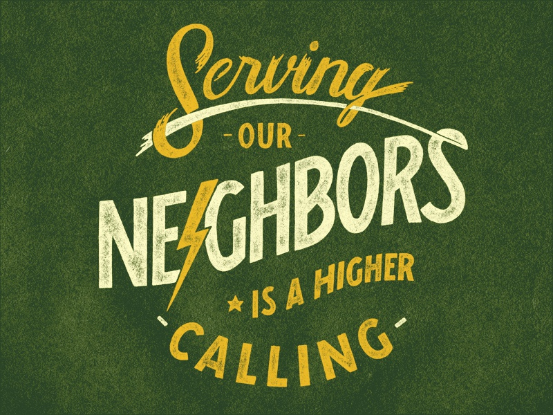 Serving Our Neighbors illustration pen and ink typography hand drawn type sevenly