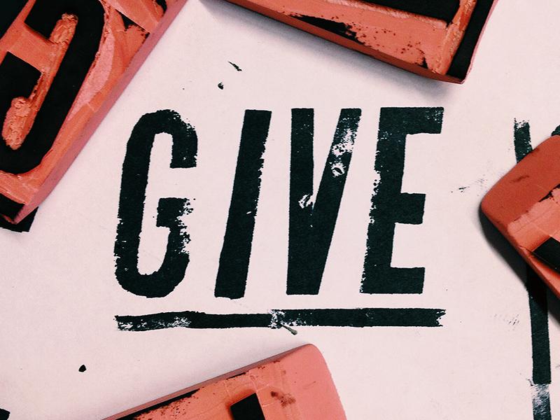 Give typography stamp lettering eraser