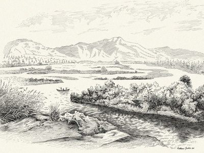 Landscape outdoors nature water fishing river landscape linework lineart pen drawing traditional pen and ink