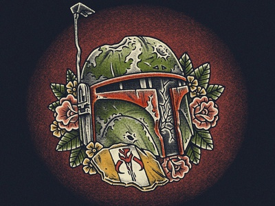 Mandalorian flash art flash traditional tattoo t-shirt design illustration