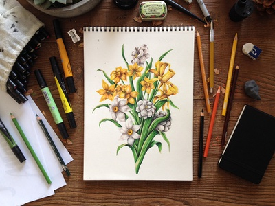 Believe In Each Other illustration typography lettering flowers floral colored pencils markers prismacolor