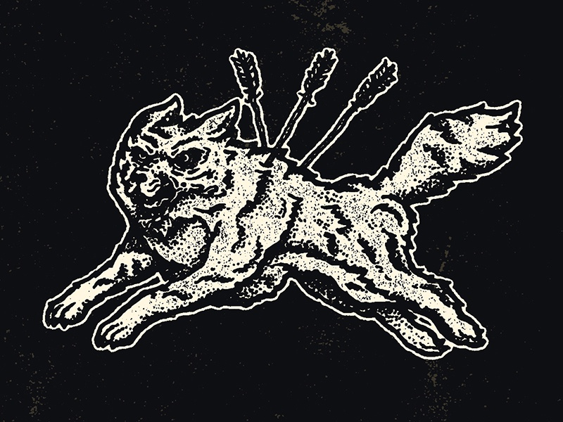 New Work illustration wolf dog arrows