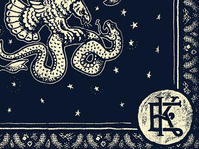 Bandana illustration eagle snake monogram