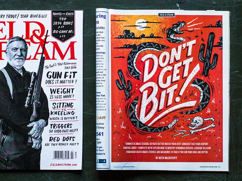 Field & Stream illustration snake typography field and stream