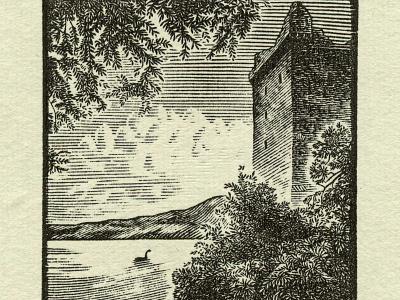 Loch Ness line art printmaking woodcut wood engraving engraving hand drawn traditional illustration