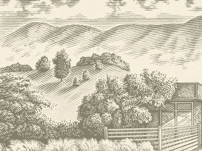Landscape clouds mountains nature outdoors trees engraved landscape etching wood cut woodcut engraving traditional hand drawn pen and ink pen drawing illustration