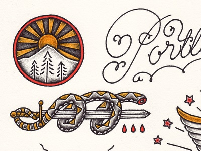 PDX Flash yondrflash tattoo flash traditional portland pdx pen and ink