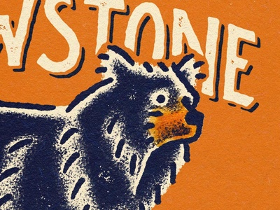 Yellowstone national parks bear lettering illustration yellowstone