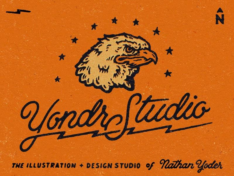 Design Face eagle bolts lightening stars lettering illustration