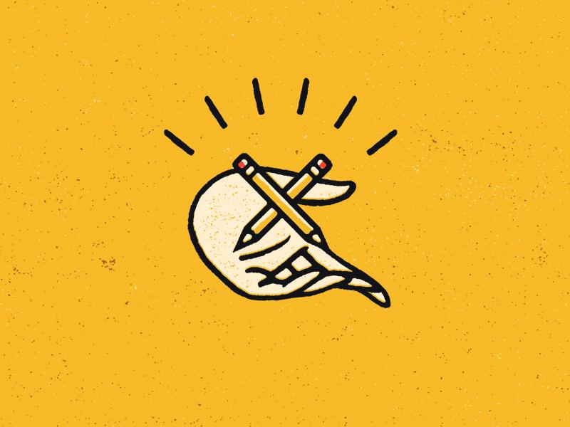 Hand logo mark illustration hand