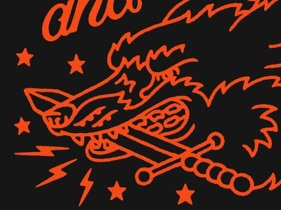 Pointy dog fox dagger illustration