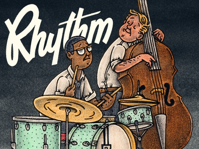 The Rythm Section bass drums instruments jazz music editorial mixed media illustration