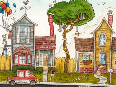 """Go Play Outside"" balloons fort car tree house neighborhood kids editorial mixed media illustration"