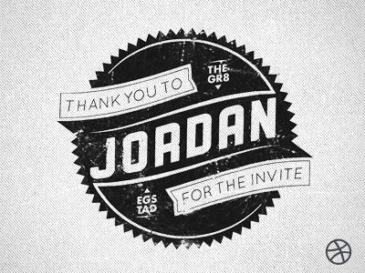 Thanks For The Invite jordan egstad dribbble thank you thanks logo badge mark typography