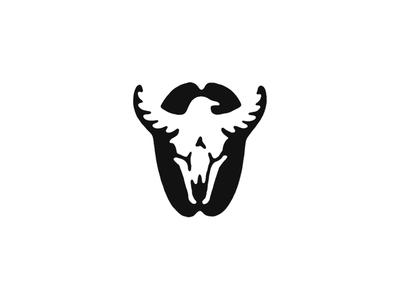 Bull & Crow bean bird skull animals mark icon branding logo