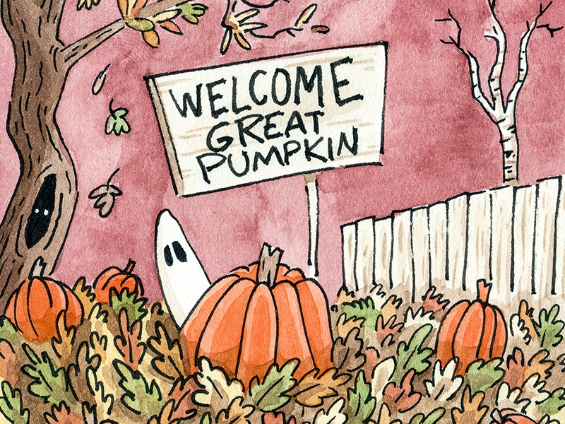 The Great Pumpkin fall pen and ink watercolor mixed media the great pumpkin halloween illustration