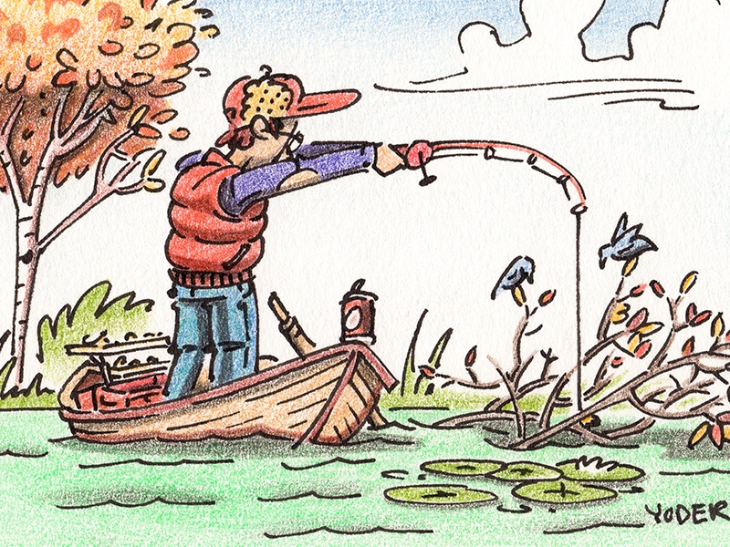 Snagged outdoors boat fishing people editorial mixed media illustration