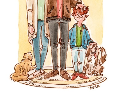 Family traditional illustration color cat dog boy kids people pen and ink watercolor editorial mixed media illustration