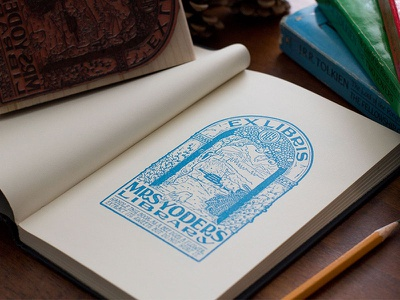 Ex Libris book literary traditional ex libris bookplate lettering hand lettering illustration