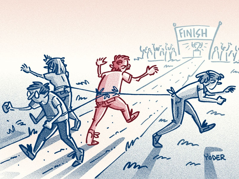 The Pull gesture race trophy prize effort struggle editorial people illustration