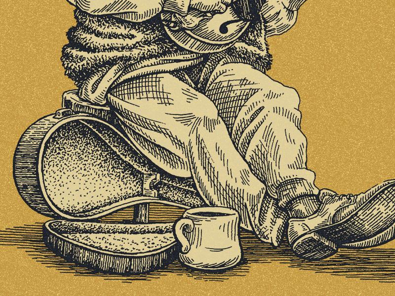 Busker line art linework traditional pen and ink illustration