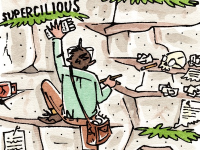 Writing danger grasping writing climbing figurative watercolor pen and ink editorial illustration
