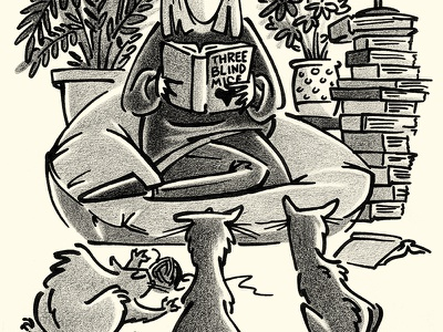 Books and Cats story chair bean bag woman editorial reading cats cat animals illustration