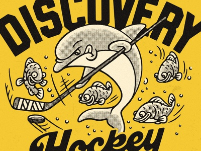 Discovery Dolphins lockup lettering t-shirt sports kids dolphin fish illustration