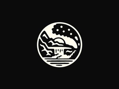 Rock Garden nature outdoors sun water tree waterfall mountains mark badge illustration logo