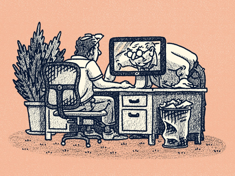 Get Your Work Done editorial boss men man people computer chair desk office workspace workplace illustration