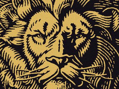 Lion animal lion pen and ink scratchboard engraving badge illustration
