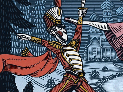 The Nutcracker ballet nutcracker christmas holidays holiday traditional pen and ink wood engraving engraving scratchboard illustration