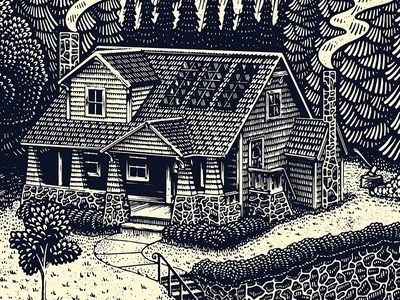 House solar nature yard outdoors home house woodcut engraving scratchboard illustration