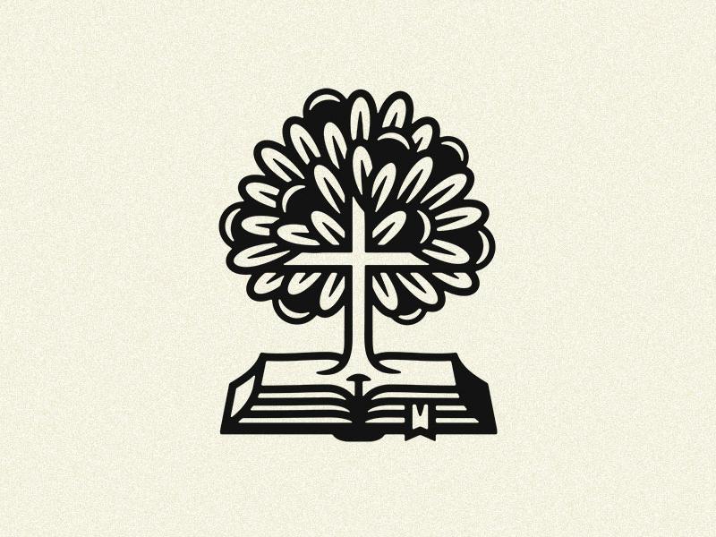 Logo education school branding cross book tree logo