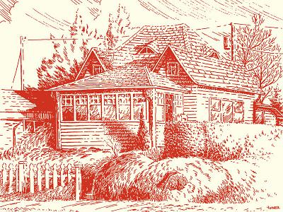 Edmonds House illustratie neighborhood home house line art linework pen and ink illustration