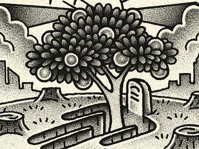 Trees illust city leaves fruit headstone tombstone tree grave yondr flash flash tattoo editorial surreal figurative illustration