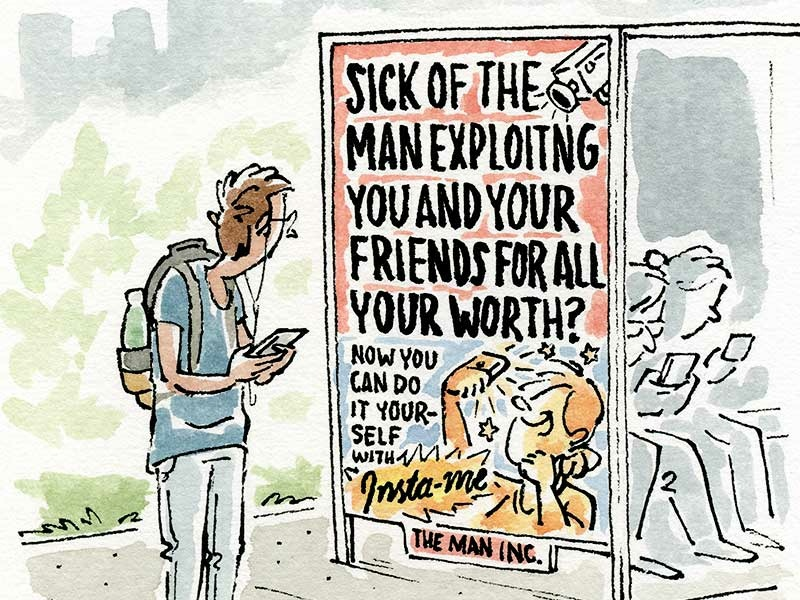 Self Exploitation illustration agency culture tech phones media social pen and ink watercolor editorial illustration