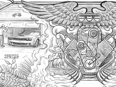 Engine illustratie wings pencil rough process engine car automotive auto work in progress wip sketch illustration